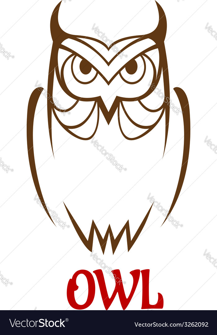Wise old owl sketch vector