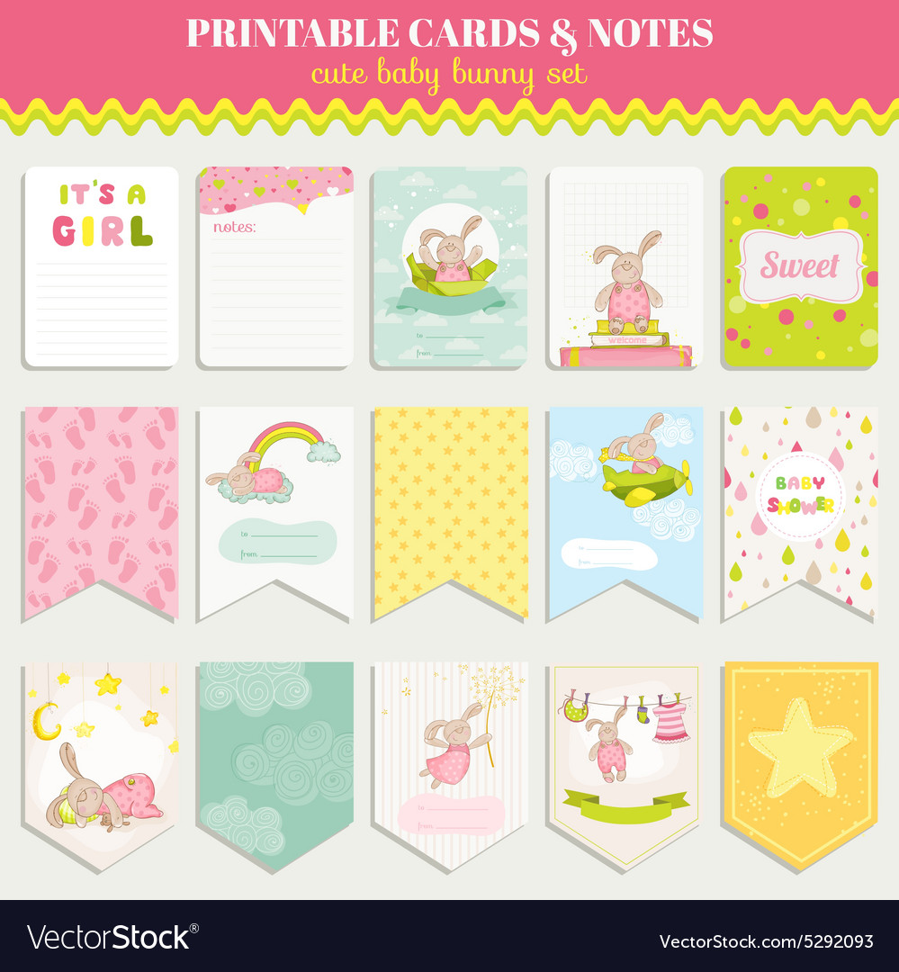 Baby bunny card set  for birthday baby shower vector