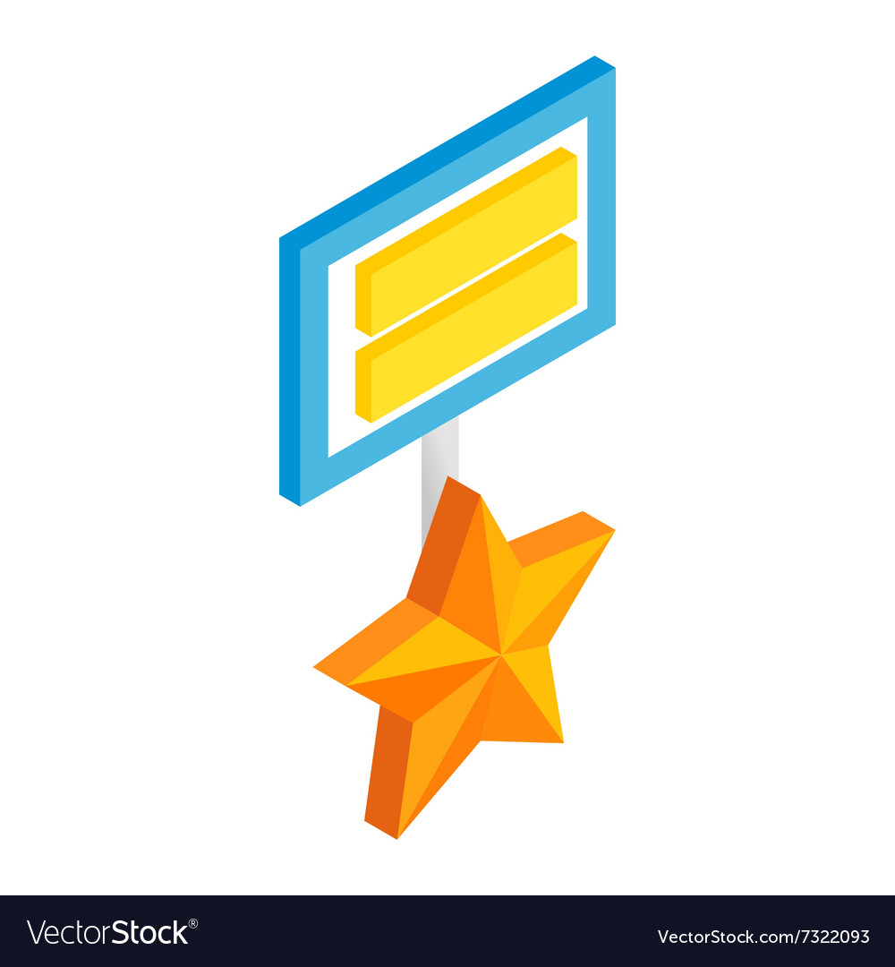Star medal sometric 3d icon o vector