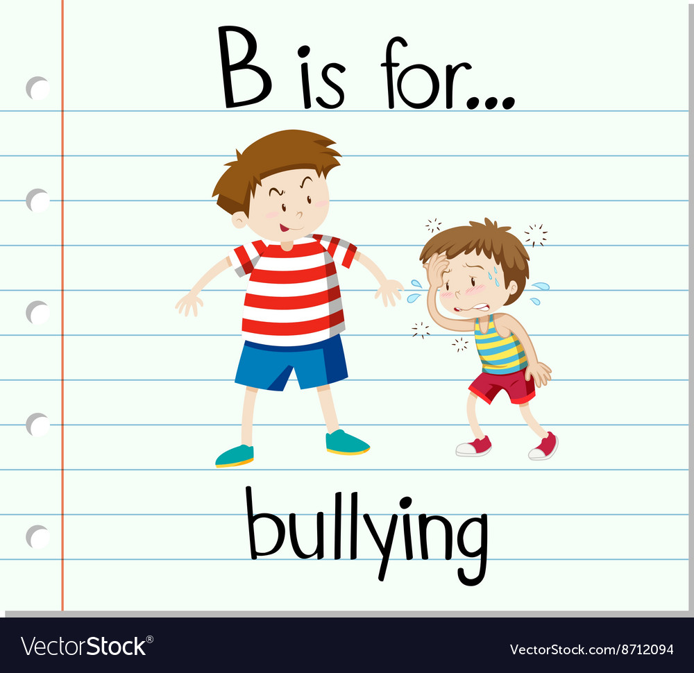 Flashcard letter b is for bullying vector