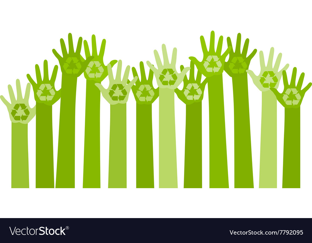 Abstract with raising hands vector