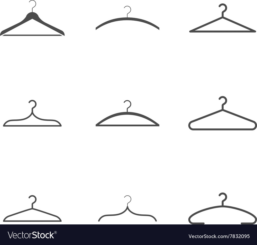 Clothes hanger icons set vector