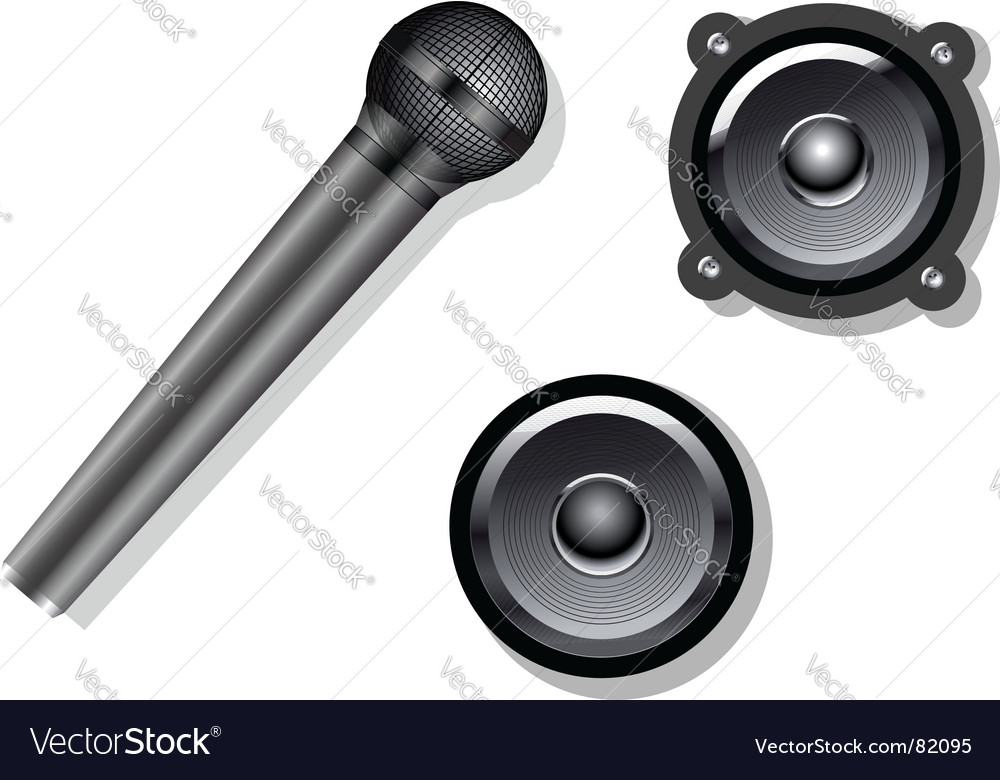 Microphone and speakers vector
