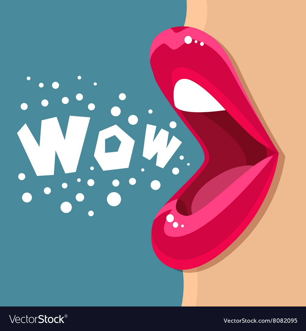 Open mouth and wow message vector