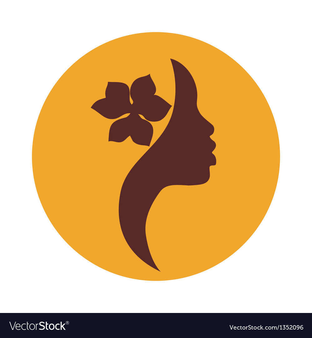 African american woman face profile beauty sign vector