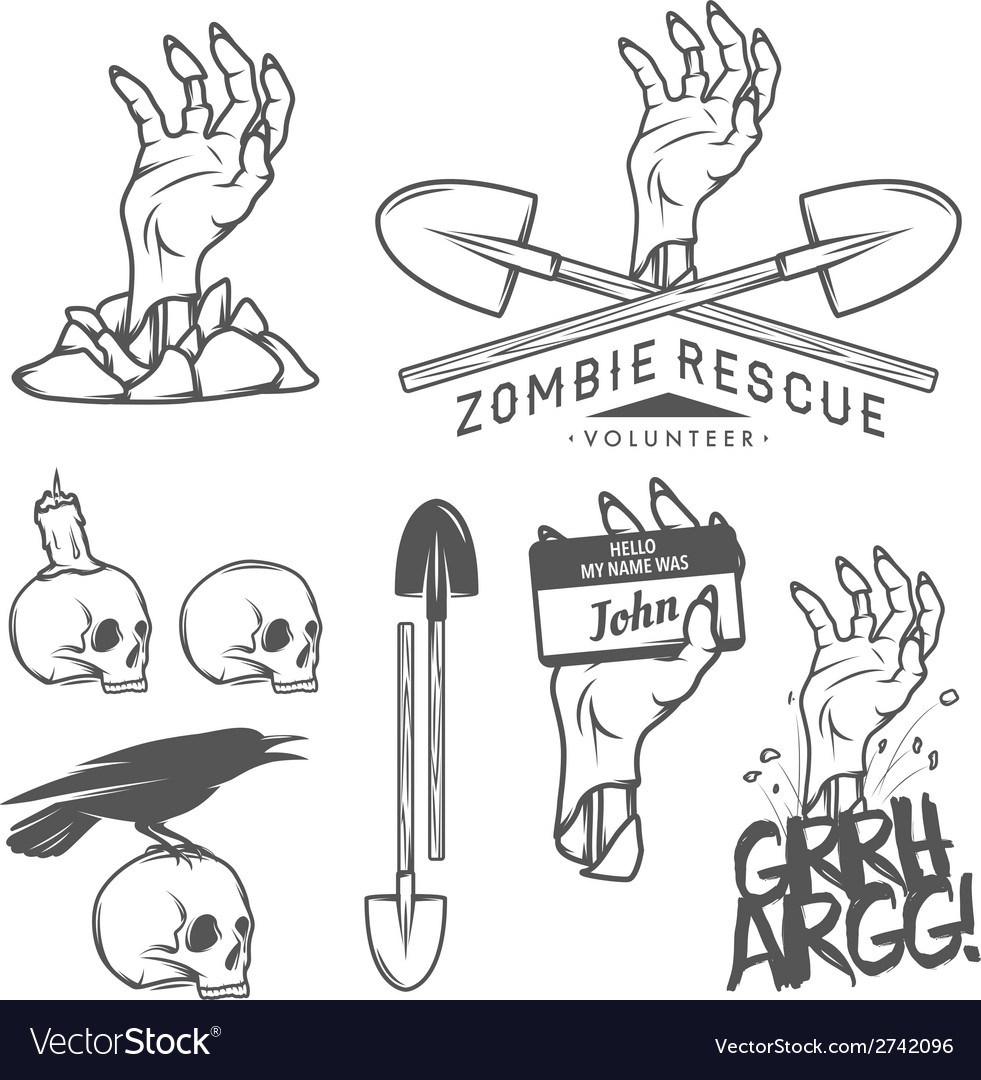 Funny halloween zombie design elements vector