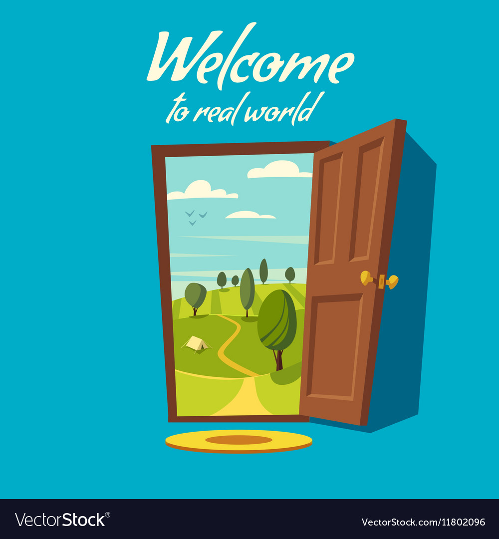 Open door valley landscape cartoon vector