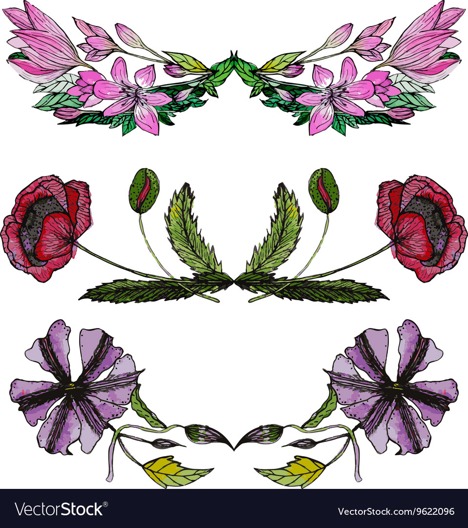 Set of watercolor floral borders vector