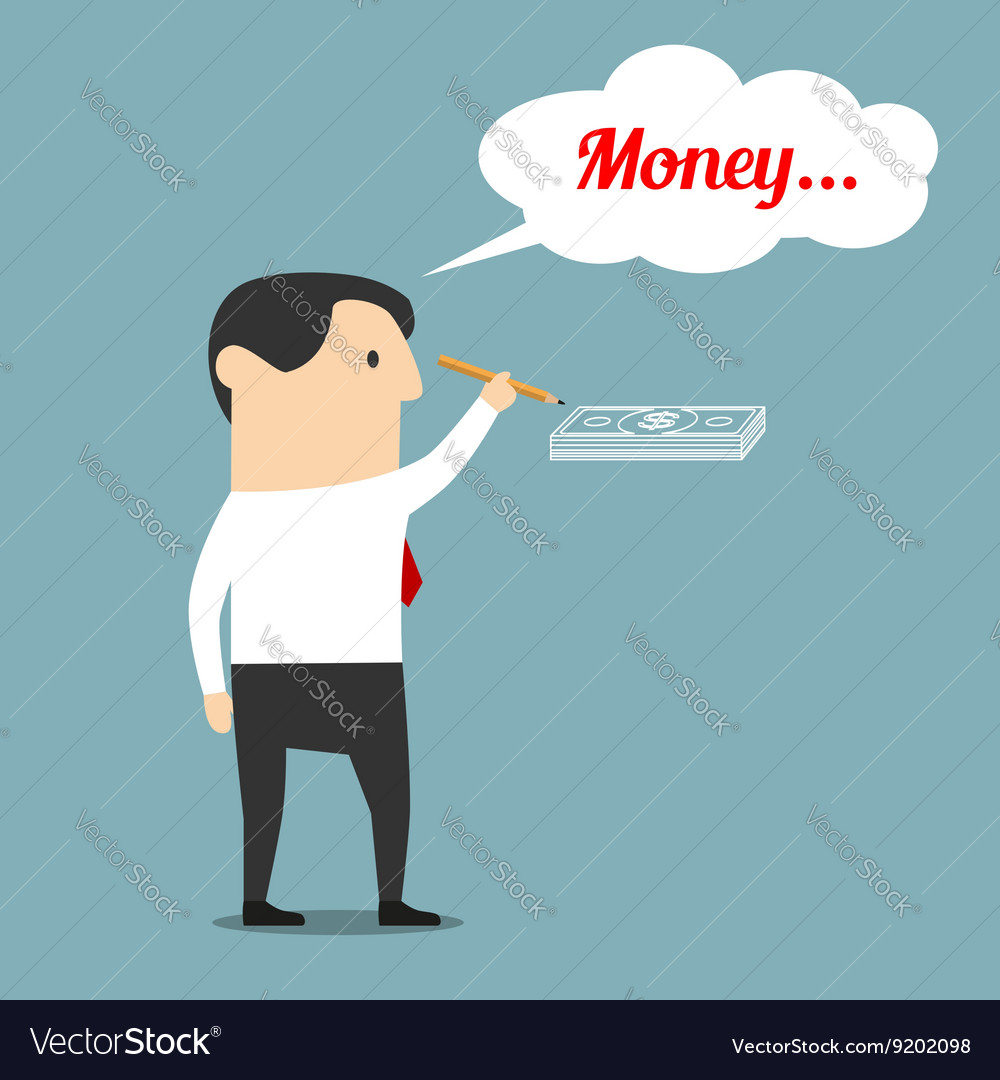 Businessman is dreaming about money vector