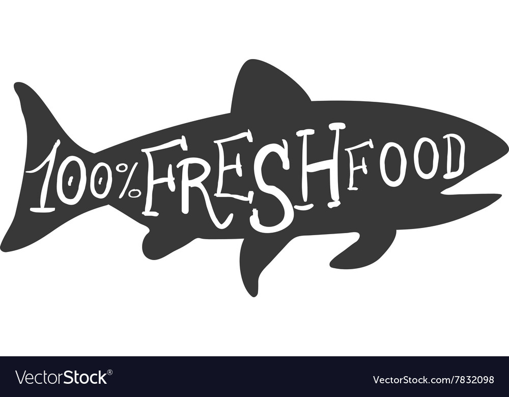 Hand drawn fish fresh food lettering vector
