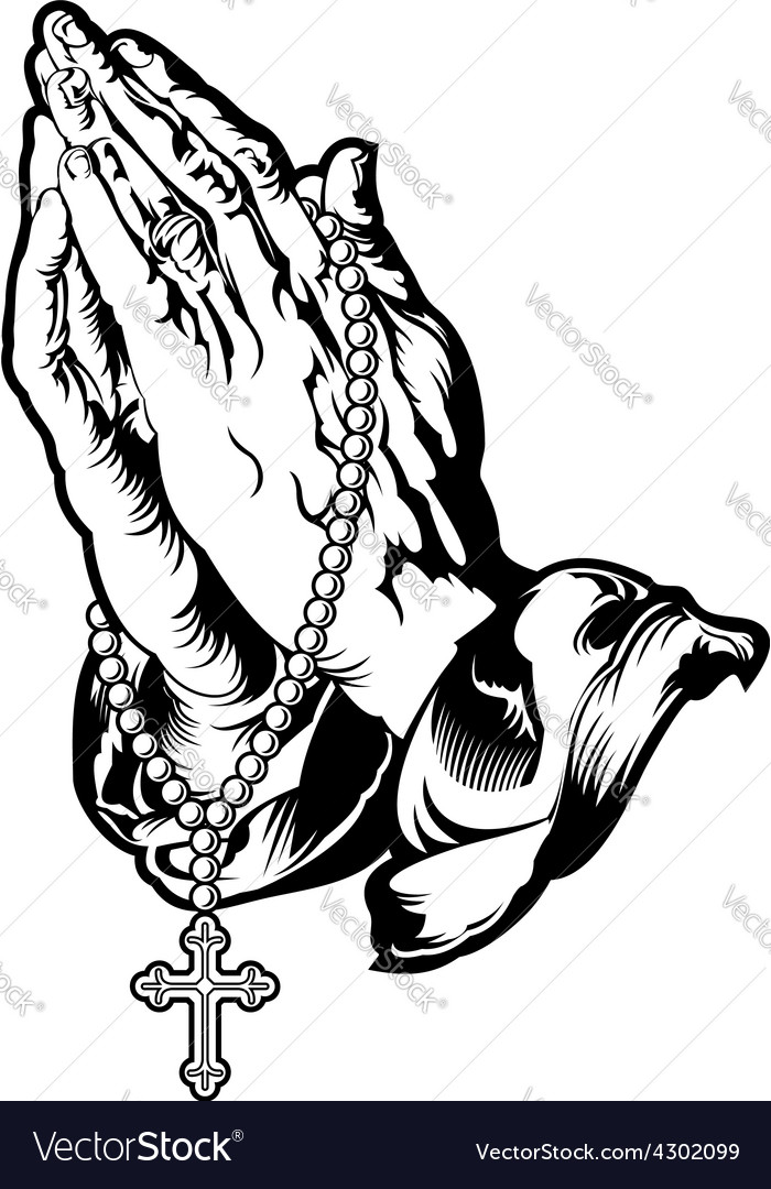 Praying hands with rosary tattoo vector