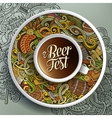 Cup of coffee Octoberfest doodles on a saucer vector image