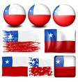 Chile flag in different designs vector image