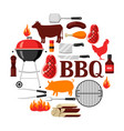 bbq background with grill objects and icons vector image