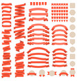 big set of red ribbons vector image