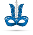blue mask with feathers vector image