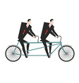 Businessman cycling Business team goes on bike vector image