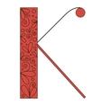 Decorative letter shape Font type K vector image