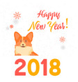 dog symbol of the year 2018 happy new year greet vector image