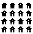 House icon set with reflection vector image