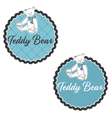 label of Teddy Bear with bow vector image