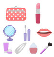 make up set icons in cartoon style big collection vector image