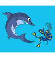 Photographing of a shark vector image