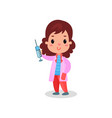 sweet girl doctor in professional clothing holding vector image