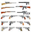 various rifle guns and pistols cartoon vector image