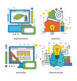 creative design brain training innovation web vector image