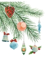 toys on Christmas tree vector image