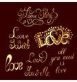 Set of hand-written words Love lettering vector image