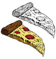 pizza on white background design element for logo vector image