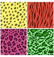 set of seamless animal fur bright color patterns vector image