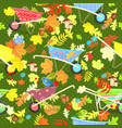 colorful seamless texture with cute garden vector image