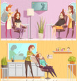 hair salon horizontal cartoon banners vector image