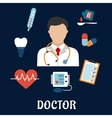 Flat medical icons with a doctor vector image vector image
