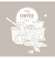 Hand drawn coffee set vector image
