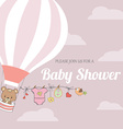 baby girl shower card with hot air balloon vector image