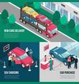car dealership leasing design concept set vector image