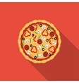 Flat pizza icon with long shadow vector image