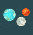 mars earth and moon planets of the solar system vector image