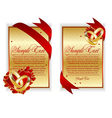 set of banner with red hearts vector image