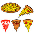 set of pizza isolated on white background design vector image