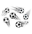 Speeding footballs or soccer balls vector image