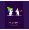 Two Funny Snowmen with a Christmas Tree Winter vector image