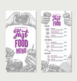 vintage fast food restaurant menu template vector image