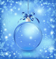 Xmas glass blue ball with snow inside and bow vector image