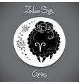 Aries zodiac sign of horoscope circle emblem in vector image