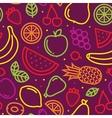 Fruits seamless pattern on purple vector image